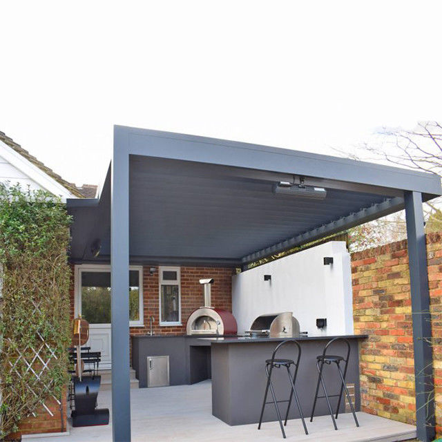 Outdoor 265mm Aerofoil Sun Aluminium Louvered Pergola Roof Canopy